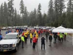 Searchers attending briefing